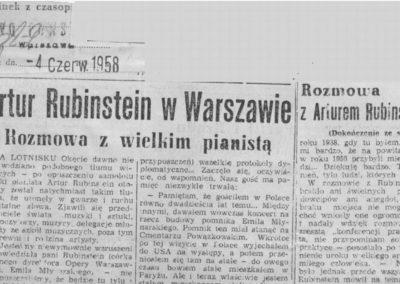 Wizyta Rubinsteina w Polsce w 1958r.